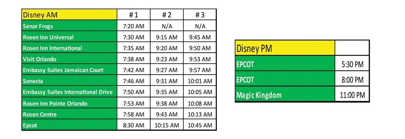 Disney World Theme Park Express Timetable